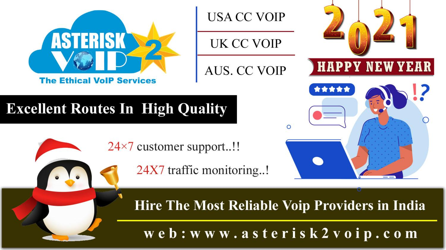 Excellent Routes in  high quality - asterisk2voip Technology