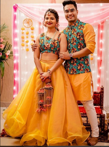 Buy Yellow lehenga for haldi function Online from EthnicPlus